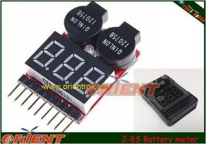 China LiFe Li-ion Lipo 2-8S electronics Battery meter/monitor with Low Voltage Alarm on sale