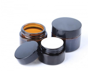 China Wholesale Custom Amber Glass Jar Cream Container on sale