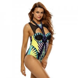 China Mesh Cutout High Neck Egyptian Print One Piece Swimsuit #LC410085 on sale