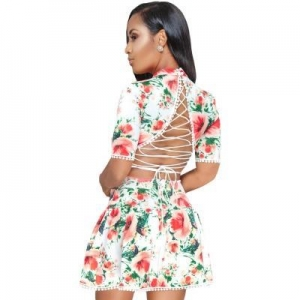 China White Multicolor Floral Lace-up Back Short Skater Dress #LC610210-1 on sale