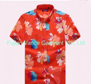 China Oem flower printing hawaiian shirts beach wear shirts on sale