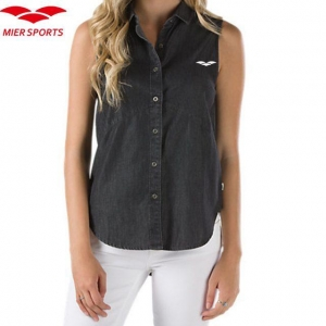 China 100% Cotton Sleeveless Shirt for Women on sale