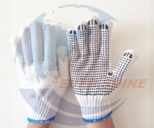 China 80g One-Side Pvc Dotted Bleached White Cotton Glove on sale