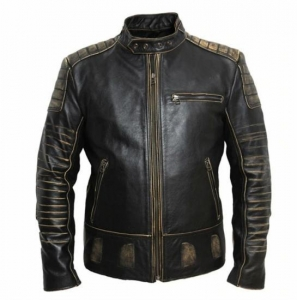 China Vintage Motorcycle Jacket Mens Leather Jacket Cowhide Black Genuine Biker supplier