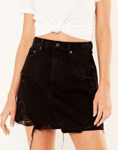 China Denim Mini skirt washed Black Front on sale