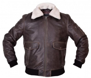 China Pilot Jacket In Craker Leather With Genuine Sheep Shearling on sale