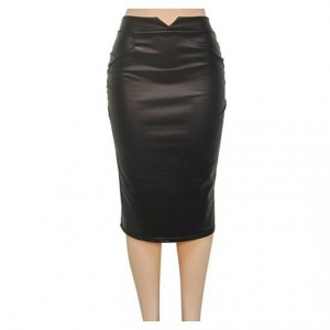 China Women Leather Skirt High Waist Slim Party Pencil Skirt on sale