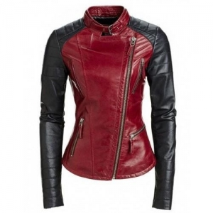China Leather Rider Womens Red Black Stylish Body Fit Leather Jacket on sale