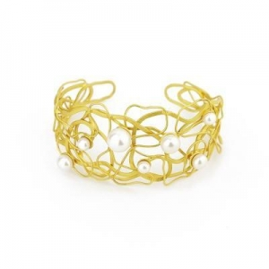 China Newest European designs in gold sterling silver pearl bangle bracelet wholesale on sale