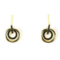 China Black Spinel Stone 925 Sterling Silver Earrings for Girl on sale