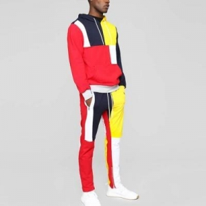 China Tracksuit Drawstring Color Block Front Kangaroo Pockets Dri Fit Mens Tracksuit on sale