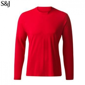 China Custom Soft Bottom Round Neck Red Long Sleeve Shirt Men on sale