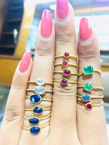 China 14k gold rings studded with precious and semi-precious stones diamond rings Product Code: R782 on sale