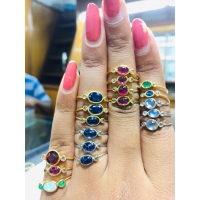 China 14k gold rings studded with precious and semi-precious stones diamond rings Product Code: R796 on sale