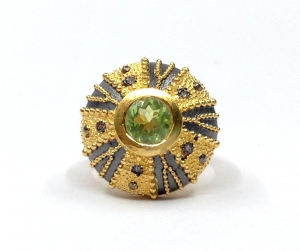 China sterling 925 silver peridot and diamond oxidized ring sterling 925 silver ring Product Code: SR223 on sale