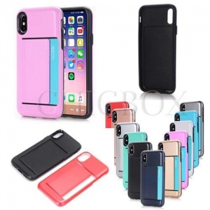 China Phone Cases 2 Layers Hybird TPU+ Hard PC Card Slot Case on sale