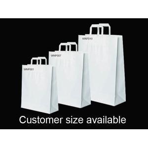 China Custom White Flat Handle Kraft Shopping Bag on sale