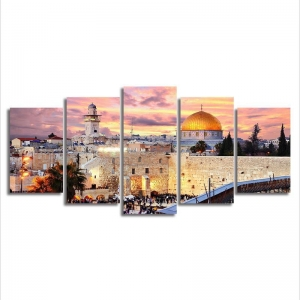 China 5 Panel Muslim Frame Modern Wall Art Islam Pictures For Living Room on sale