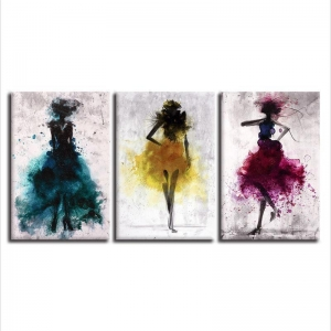 China Abstract Watercolor Fashion Women Canvas Wall Art on sale
