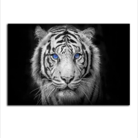 China Framed Black and White Wall Art Tiger Canvas Prints Aniaml Pianting on sale