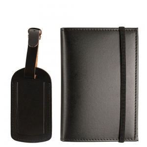 China black pu leather luggage tag+notebook travel set on sale