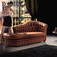 Brown Leather Sofa with Chaise Lounge
