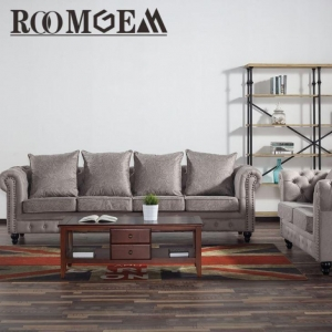 China Grey Tufted Sofa Set on sale
