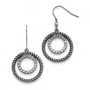 China Bulk discount Stainless Steel Polished and Antiqued Cubic Zirconia Circle Dangle Earrings -2-714 on sale