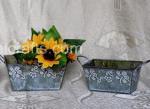 Antique Square Flower Pots with Handles