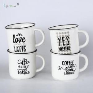 China Factory wholesale 12oz white blank color customized printing ceramic enamel coffee tea mug cups on sale