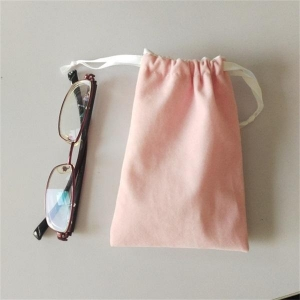 China Drawstring Sunglass Bag in Velvet Material Very Soft Eyeglasses Pouch Pink on sale