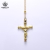 China Gold plated jesus piece pendant, religious cross necklace women for sale
