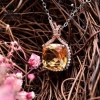 China Citrine rose gold necklace, pave diamond pendants necklace for sale
