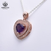 China Heart necklace amethyst pendant, simple gold plated pendant design for sale