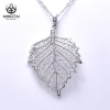 China 925 Sterling silver rhodium plated ladies leaf necklace 2018 for sale