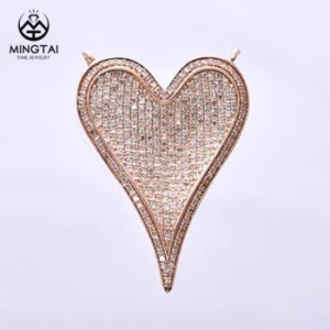 China New Arrival heart shape 14k rose gold pendant necklace, diamond pendant on sale