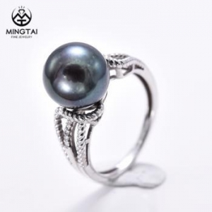 China Twist Band 925 sterling silver ring, pearl ring on sale