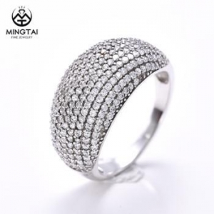 China Micro pave setting 925 sterling silver engagement ring, diamond ring price on sale