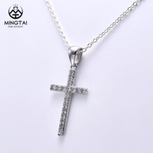 China 925 sterling silver pendant, wholesale cross pendant bulk sale with White Cubic Zirconia on sale