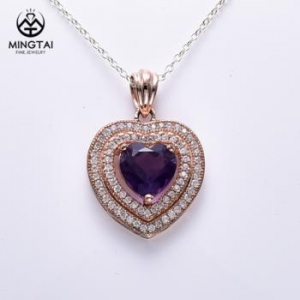 China 2018 Latest design 925 sterling silver heart pendant necklace, amethyst pendant on sale