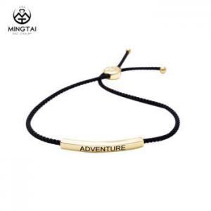 China Custom engraved logo men leather braid bracelet on sale