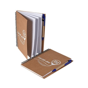 China Kraft Ppaer Cover Spiral Notebook With Pen on sale
