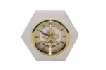 Hexagon Shape Marble Agate Clock