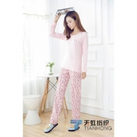 China BF119029 bamboo long-sleeved trousers circle pattern - pink on sale