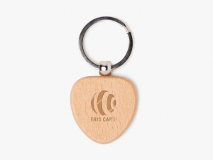 China Wooden heart keychain (laser engraved) on sale
