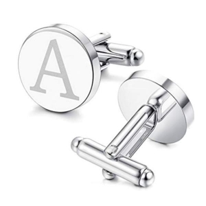 China Personalised Cufflinks Stainless Steel Engrave Logo Name Round for Men on sale