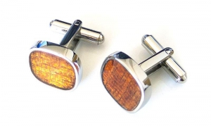 China Koa Wood veneer inlay 316l Stainless Steel Mens Personalised Cufflinks on sale