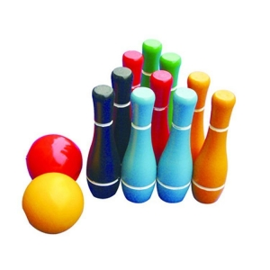 China Wood Bowling Yard Game Set with 10 Pins and 2 Balls on sale