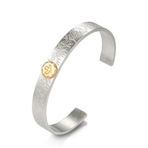 China Fashion engraved flower stainless steel cuff bracelet latest design vogue jewellery bangle on sale