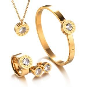 China Fashion 18K gold plated high quality changeable stone jewelry set for women wholesale